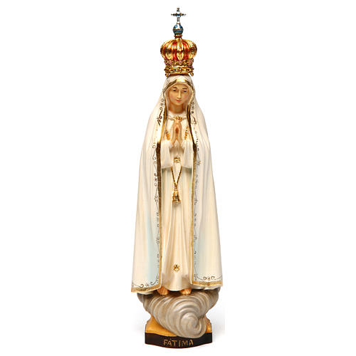 Our Lady of Fatima Capelinha with crown statue in painted wood, Val Gardena 1