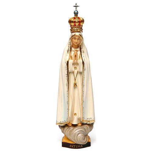 Statua Madonna di Fátima Capelinha con corona legno dipinto Val Gardena 1
