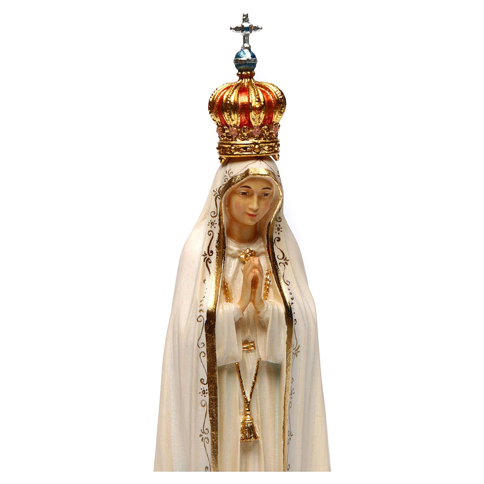 Imagem Nossa Senhora de Fátima Capelinha com coroa madeira pintada Val Gardena 4