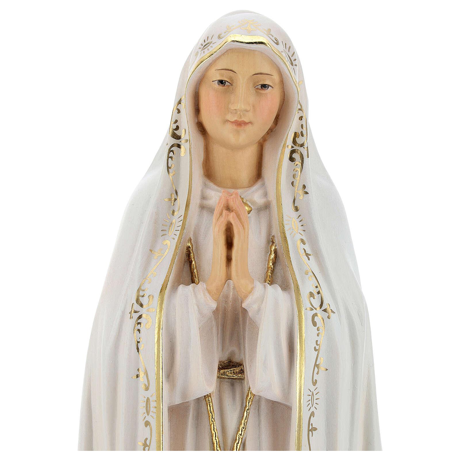 Estatua Virgen de Fátima Capelinha madera pintada Val Gardena 4