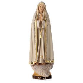 Statue Notre-Dame de Fatima Capelinha bois peint Val Gardena s6