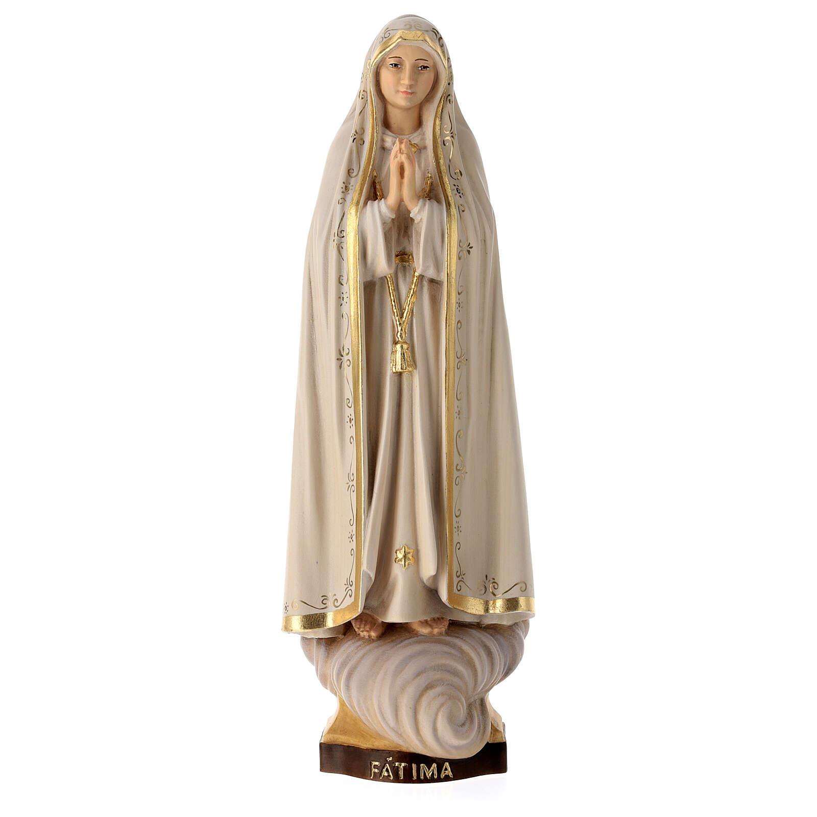 Statua Madonna di Fátima Capelinha legno dipinto Val Gardena 4