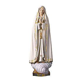 Hand painted wooden statues: Our Lady of Fatima Capelinha Statue, wood painted Val Gardena