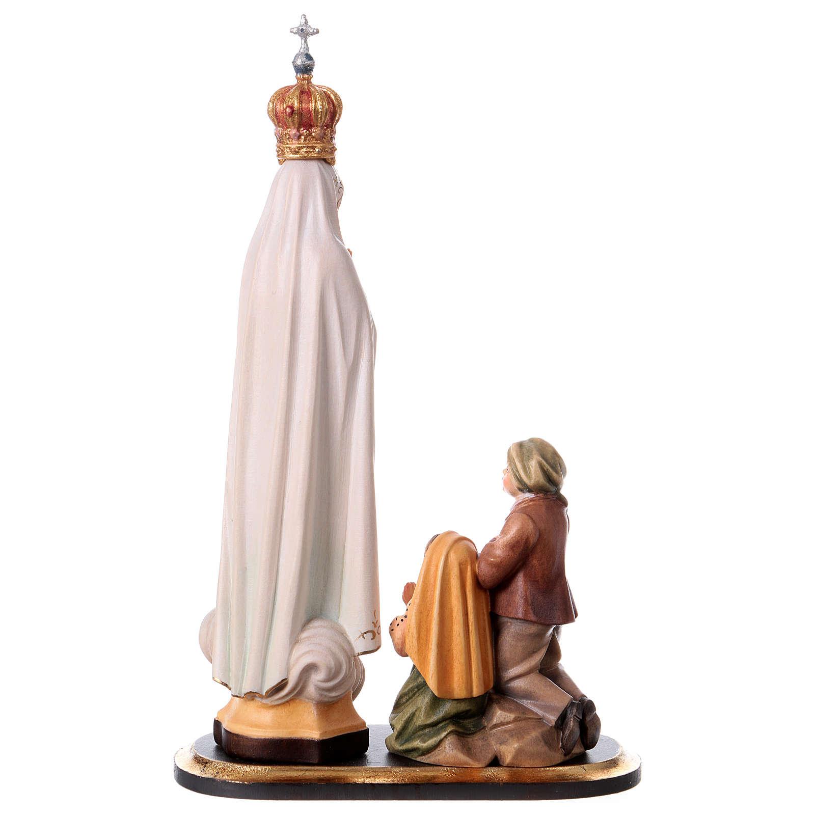 Gruppo apparizione di Fátima Capelinha con corona legno dipinto Val Gardena 4