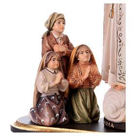 Gruppo apparizione di Fátima Capelinha con corona legno dipinto Val Gardena s2