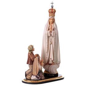 Gruppo apparizione di Fátima Capelinha con corona legno dipinto Val Gardena s4