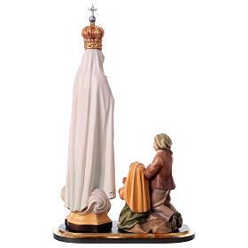 Gruppo apparizione di Fátima Capelinha con corona legno dipinto Val Gardena s5
