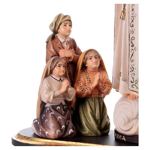Gruppo apparizione di Fátima Capelinha con corona legno dipinto Val Gardena 2