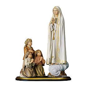Gruppo apparizione di Fátima Capelinha legno dipinto Val Gardena s1