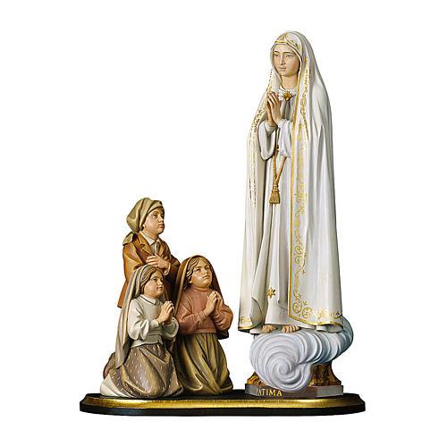 Gruppo apparizione di Fátima Capelinha legno dipinto Val Gardena 1