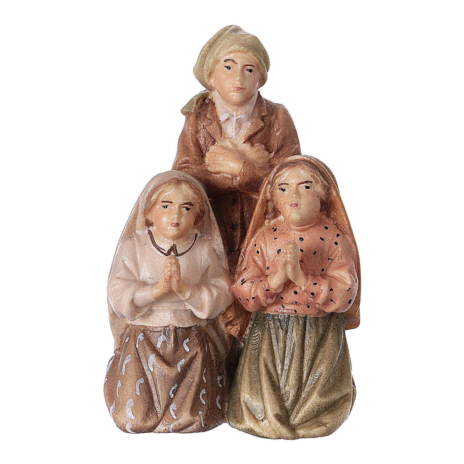 Estatuas de tres pastores de Fátima madera pintada Val Gardena 4