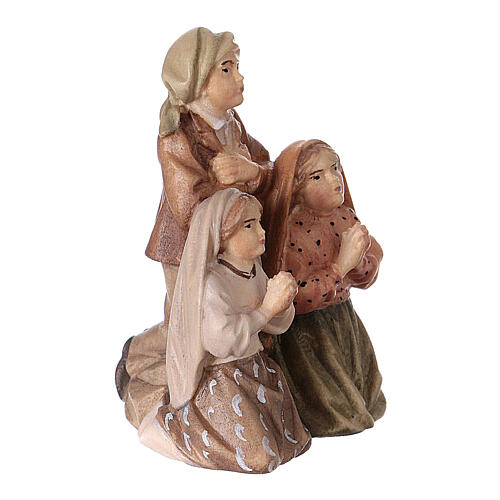 Estatuas de tres pastores de Fátima madera pintada Val Gardena 3
