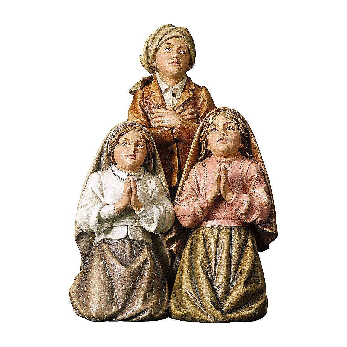 Statue dei tre pastorelli di Fátima legno dipinto Val Gardena 4