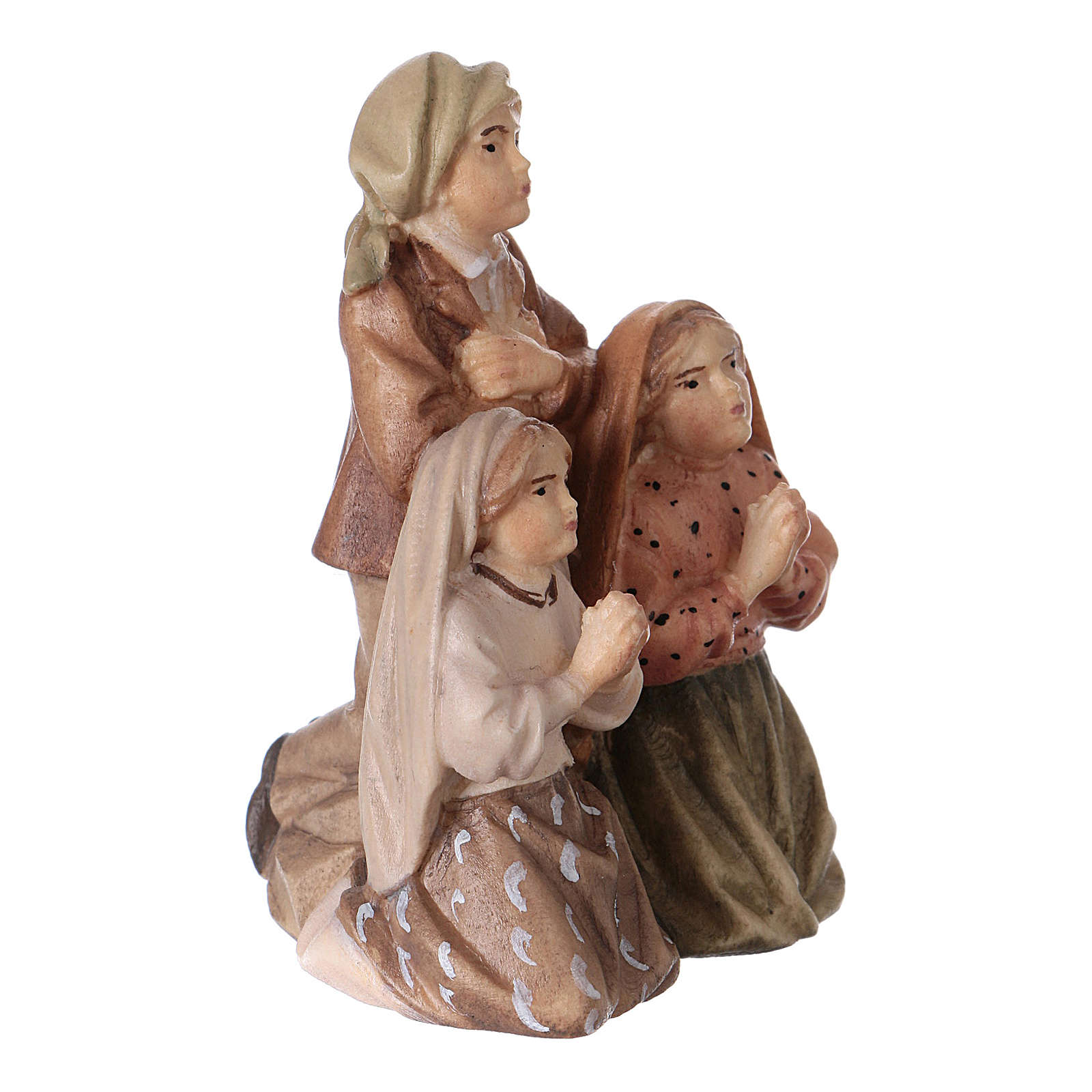 Statues of the three shepherds of Fatima wood painted Val Gardena 4