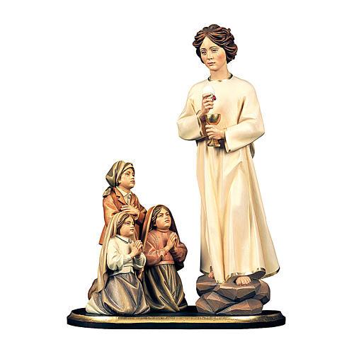 Gruppo apparizione angelo della pace del Portogallo, legno dipinto Val Gardena 1