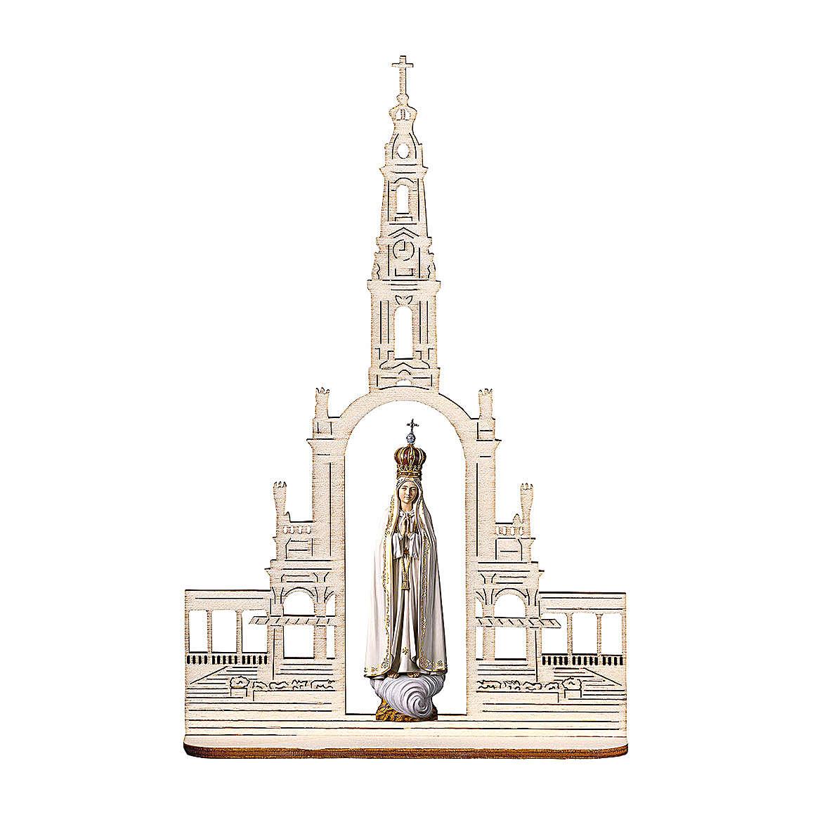Statua Madonna di Fatima con corona e basilica, legno dipinto Val Gardena 9 cm 4