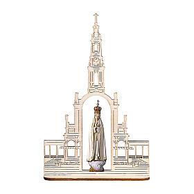 Statua Madonna di Fatima con corona e basilica, legno dipinto Val Gardena 9 cm s1