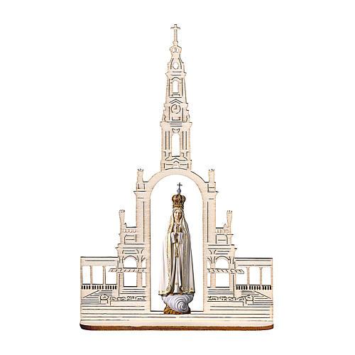Statua Madonna di Fatima con corona e basilica, legno dipinto Val Gardena 9 cm 1