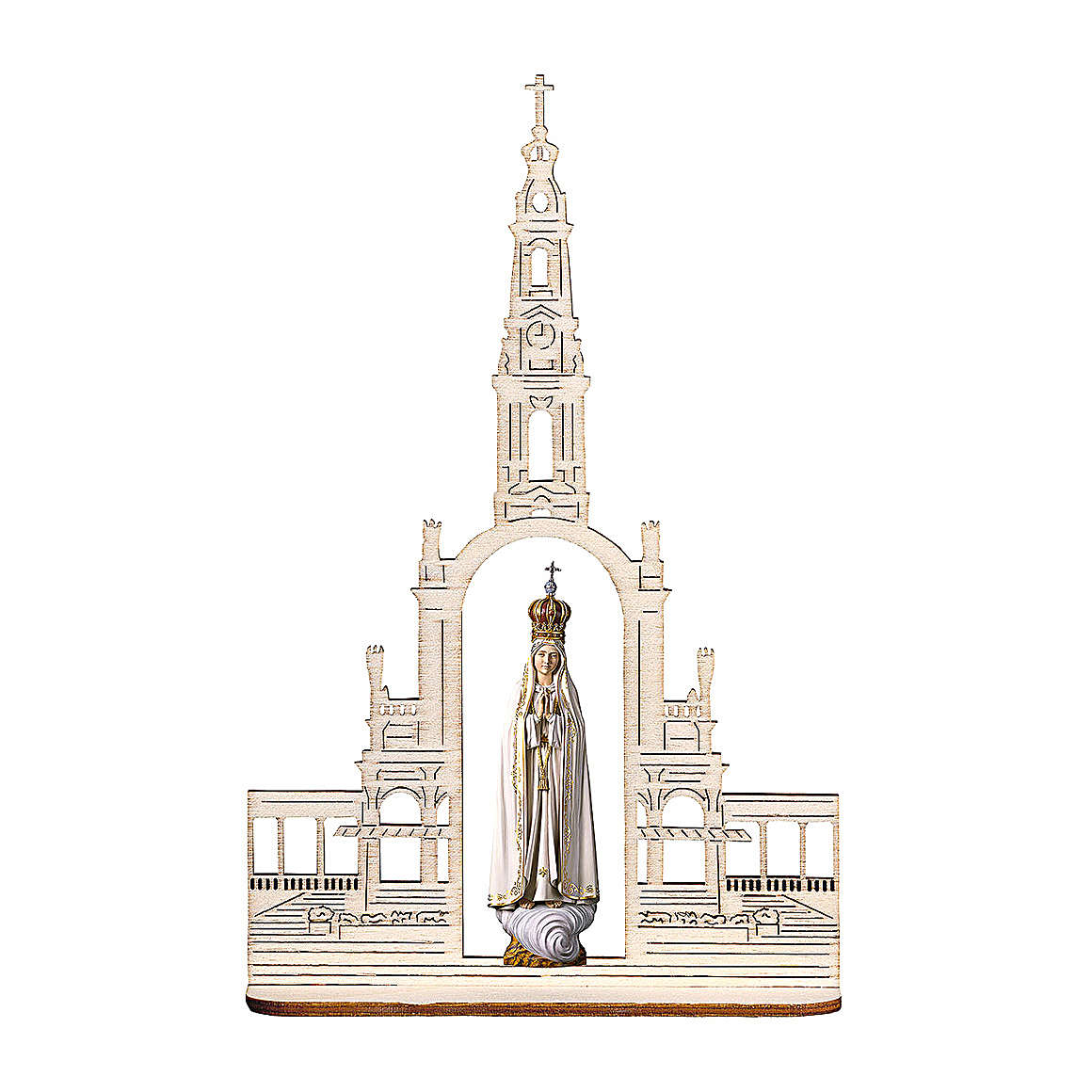 Madonna of Fatima Statue with Crown and Basilica wood painted Val Gardena 28 inches 4