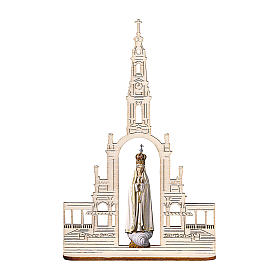 Madonna of Fatima Statue with Crown and Basilica wood painted Val Gardena 28 inches s1