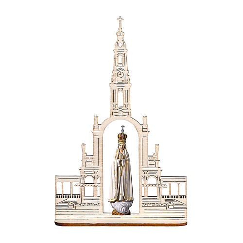 Madonna of Fatima Statue with Crown and Basilica wood painted Val Gardena 28 inches 1