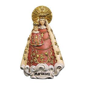 Statua Madonna di Mariazell legno dipinto Val Gardena s1