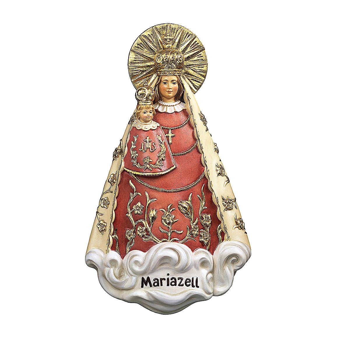 Statua Madonna di Mariazell da appendere legno dipinto Val Gardena 4