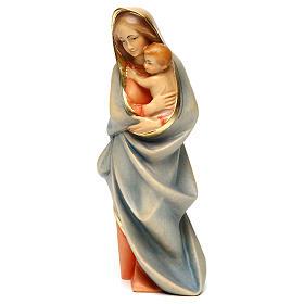 Statues en bois peint: Statue Vierge moderne bois peint Val Gardena