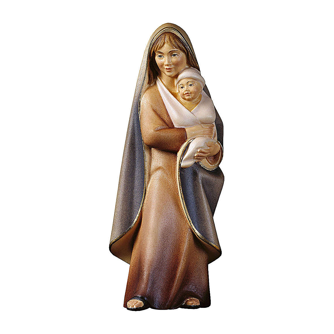 Mary of Joy Statue Sitting walnut wood Val Gardena 4