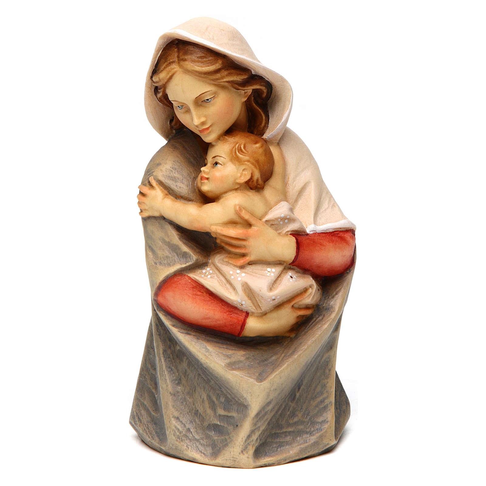 Statue buste Sainte Vierge bois peint Val Gardena 4