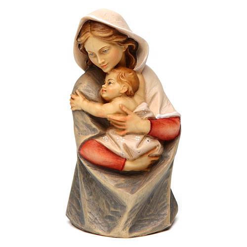 Statue buste Sainte Vierge bois peint Val Gardena 1