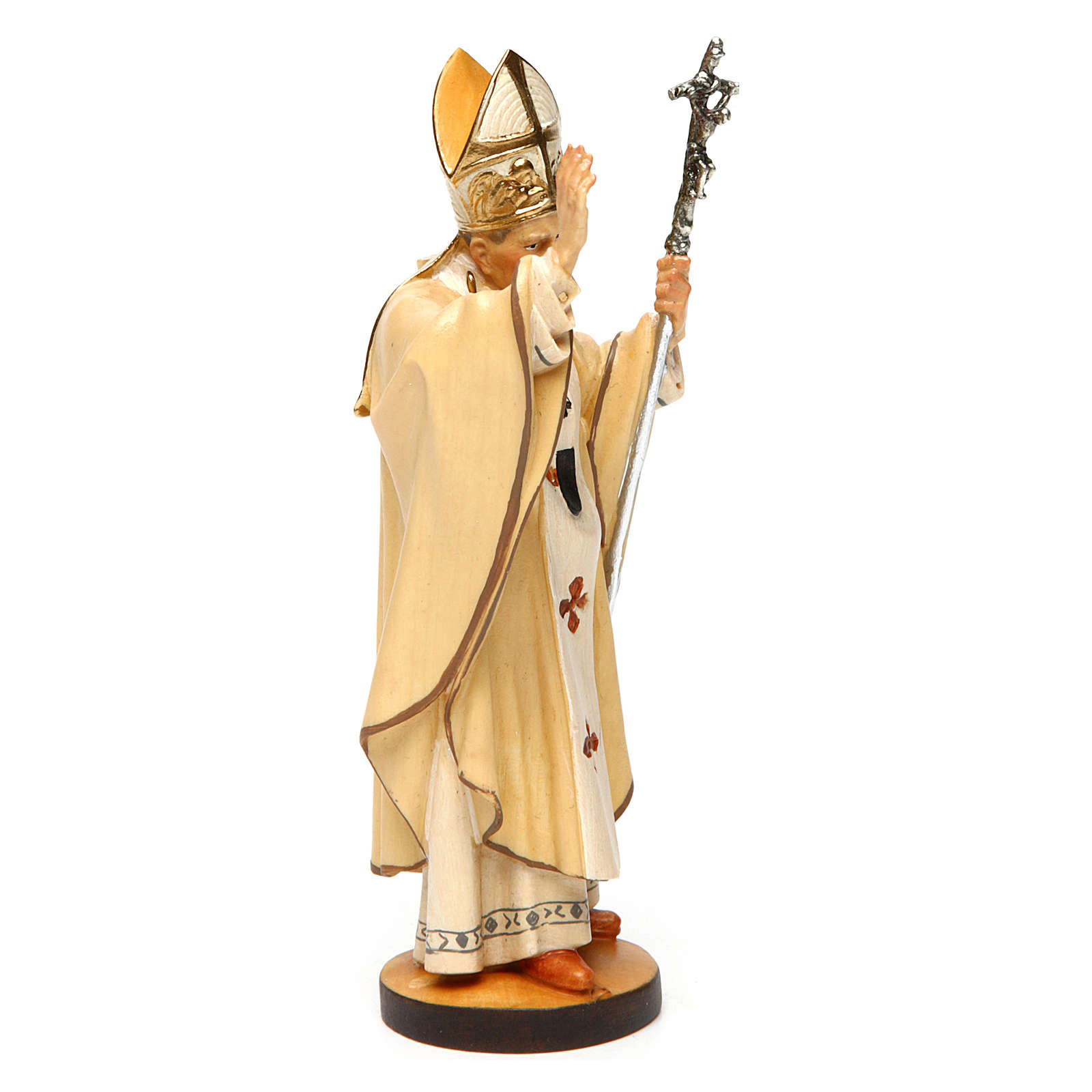 Estatua Santo Papa Juan Pablo II madera pintada Val Gardena 4