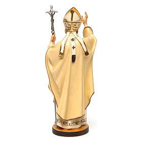 Estatua Santo Papa Juan Pablo II madera pintada Val Gardena s4