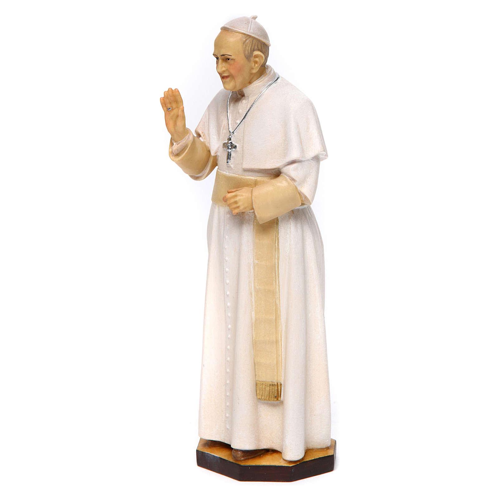 Estatua Papa Francisco madera pintada Val Gardena 4