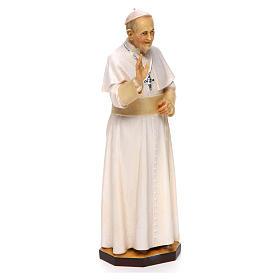 Estatua Papa Francisco madera pintada Val Gardena s3