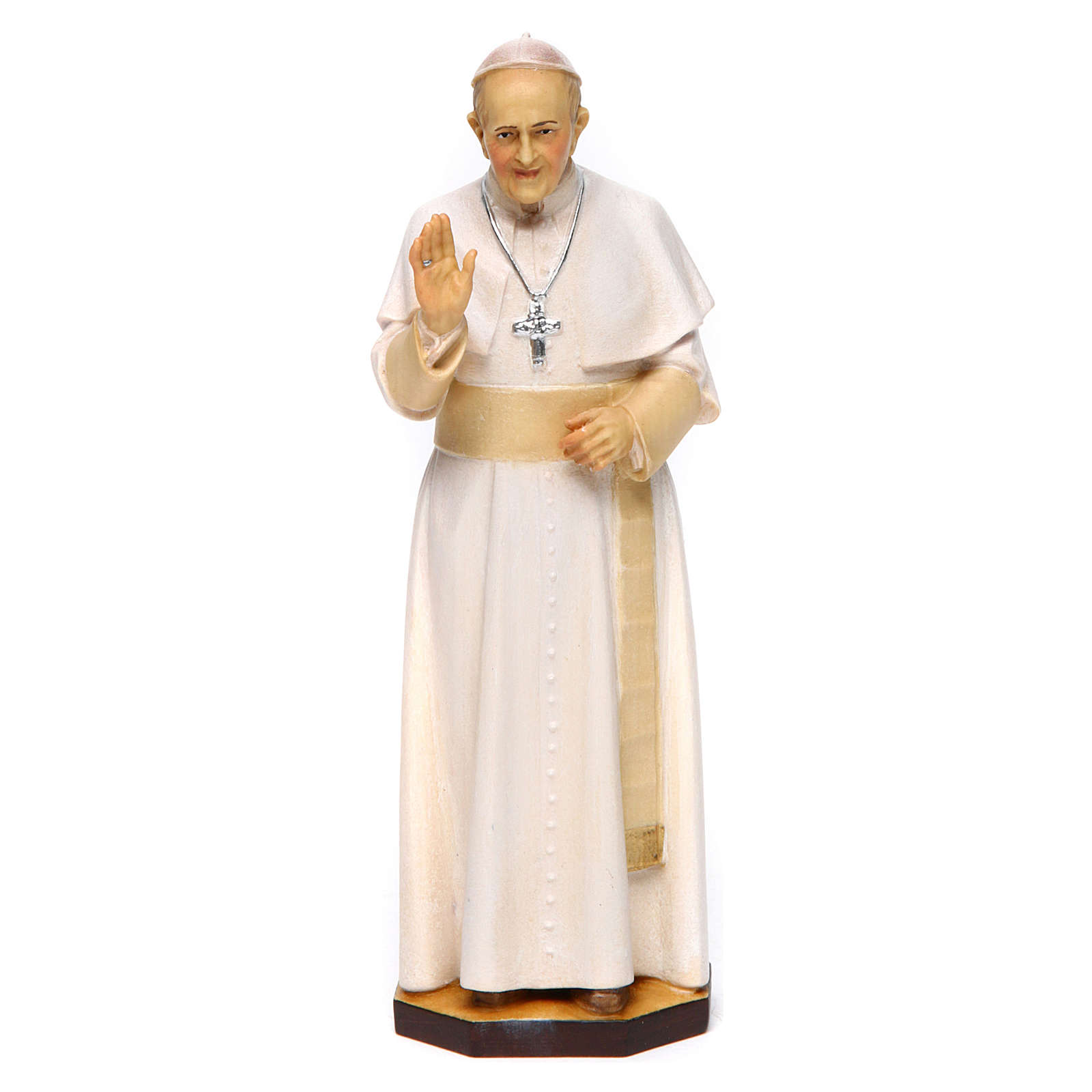 Statua Papa Francesco legno dipinto Val Gardena 4