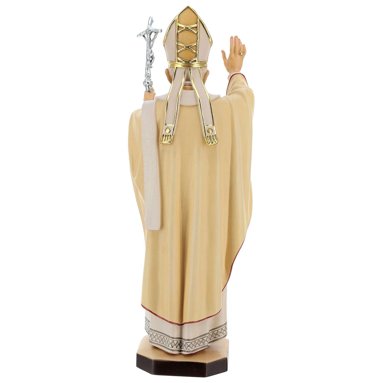 Statue Pape Benoît XVI bois peint Val Gardena 4