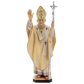 Statue Pape Benoît XVI bois peint Val Gardena s1