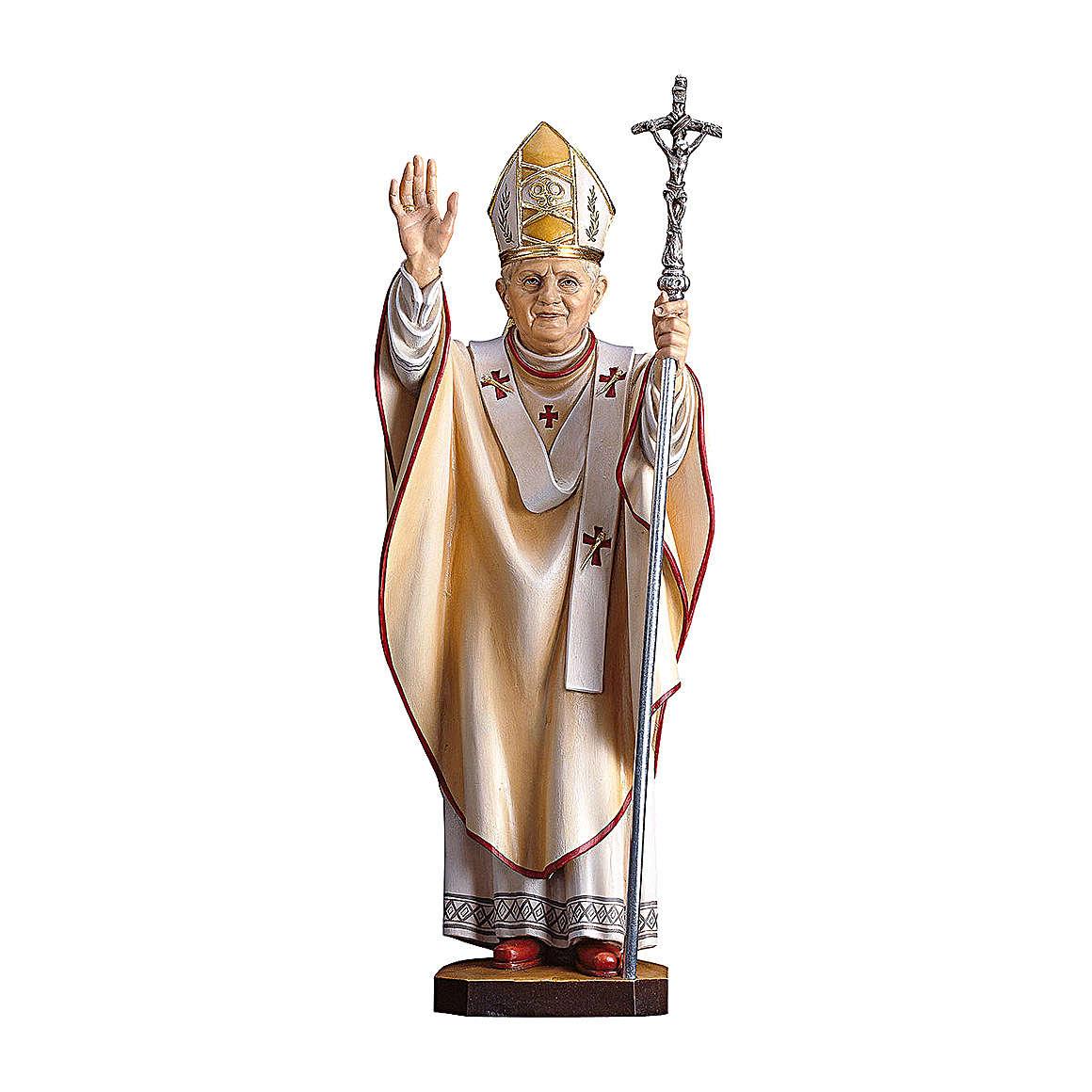 Statua Papa Benedetto XVI legno dipinto Val Gardena 4
