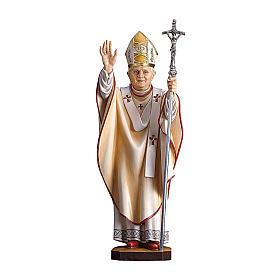 Statua Papa Benedetto XVI legno dipinto Val Gardena s1