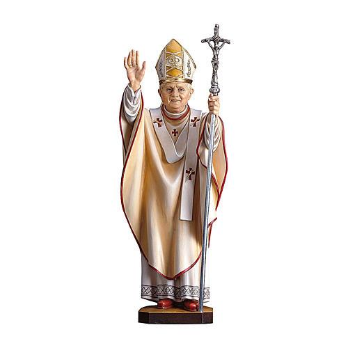 Statua Papa Benedetto XVI legno dipinto Val Gardena 1