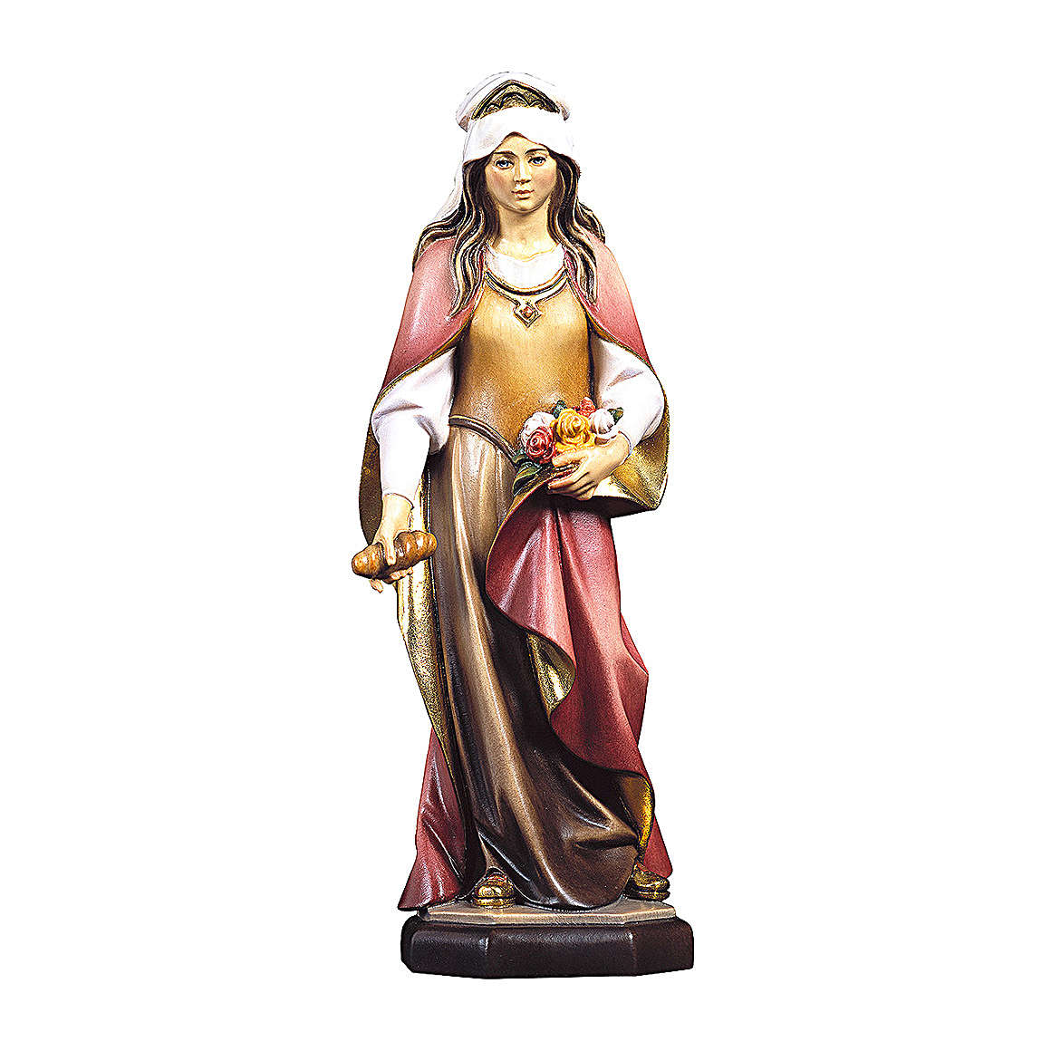 Statue of St. Elizabeth of Hungary with roses and bread in painted wood from Val Gardena 4