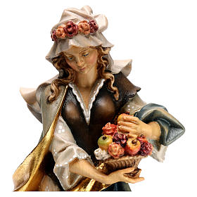 Statue of St. Dorothea with roses in painted wood from Val Gardena