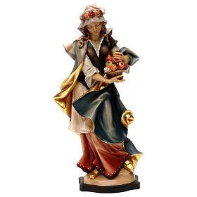 Statues en bois peint: Statue Sainte Dorothée avec roses bois peint Val Gardena