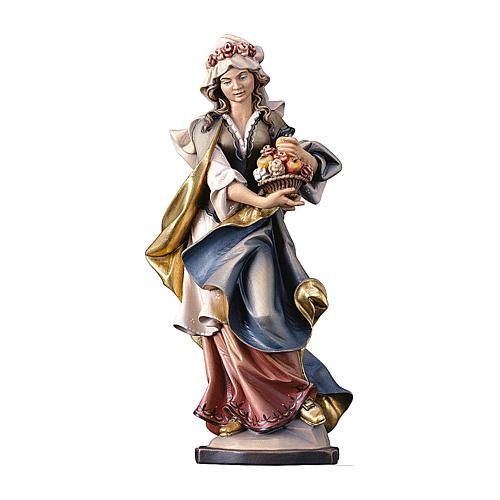 Statua Santa Dorothea con rose legno dipinto Val Gardena 1