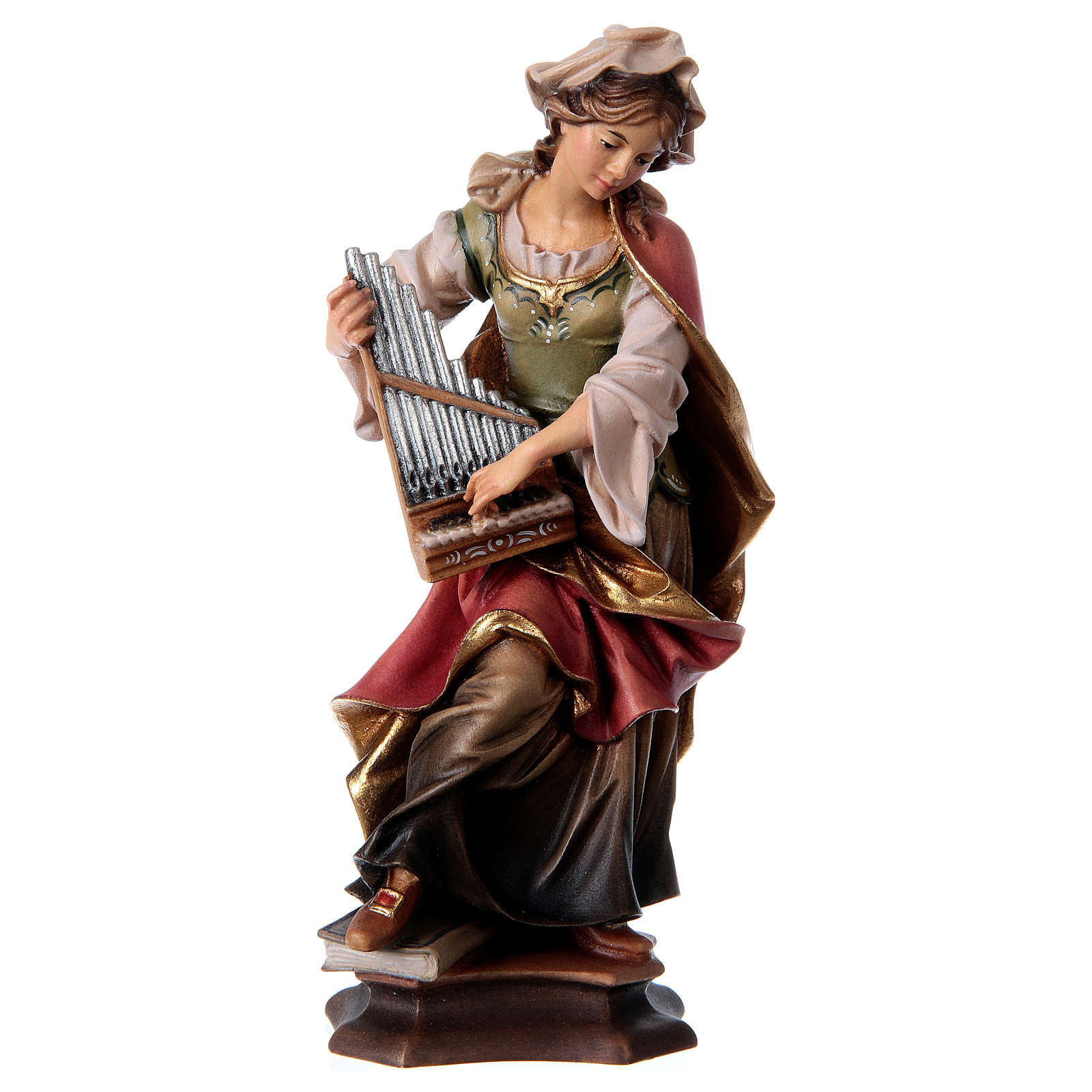 Statue of St. Cecilia of Rome with organ in painted wood from Val Gardena 4
