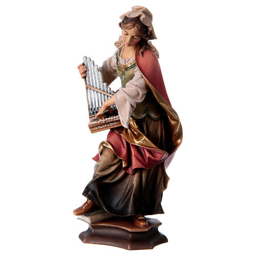 Statue of St. Cecilia of Rome with organ in painted wood from Val Gardena 3