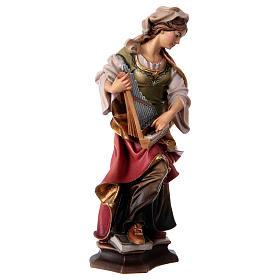 Statua Santa Cecilia da Roma con organo legno dipinto Val Gardena s4