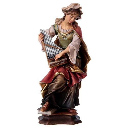 Statua Santa Cecilia da Roma con organo legno dipinto Val Gardena 1