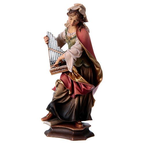 Statua Santa Cecilia da Roma con organo legno dipinto Val Gardena 3